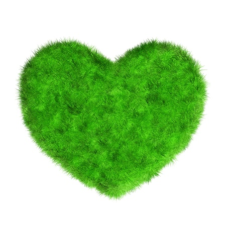 Grass heart isolated on white Stock Photo