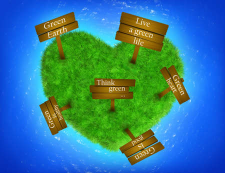 Grass heart-shaped island with signs Stock Photo