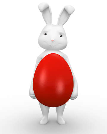 Cute bunny holding a big red egg