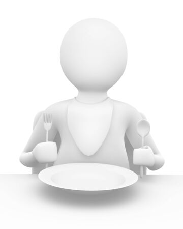 unsatisfied: Man sitting at the table waiting for meal Stock Photo