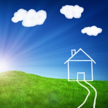 dessin craie: Champ vert avec un dessin � la craie d'une maison