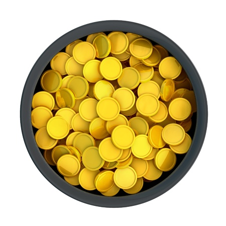 Pot of golden coins, top view Stock Photo - 10331121