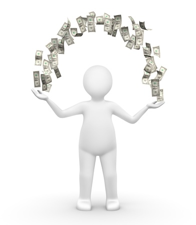 money transfer: Human with an arch of money  Stock Photo