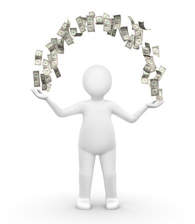 bank overschrijving: Mens met een boog van geld
