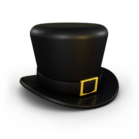Classic black top hat on white background Stock Photo