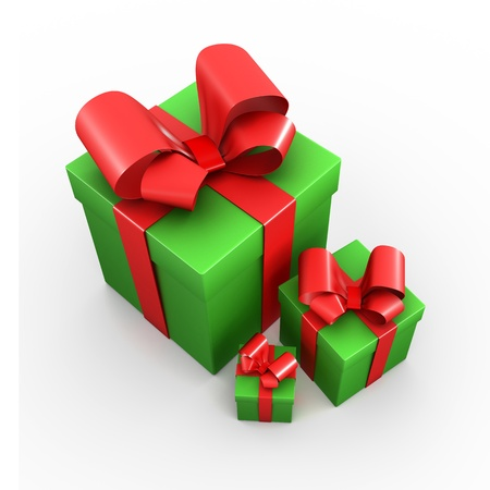 Three green presents with red ribbons