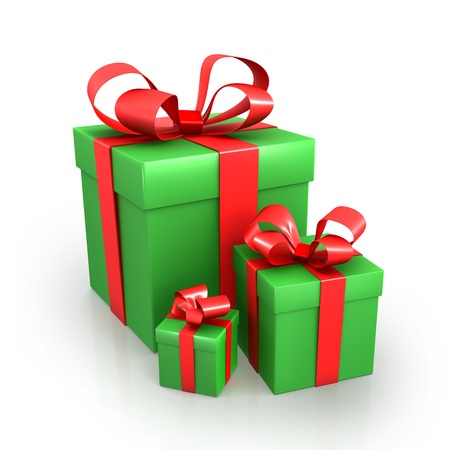 Three green presents with red ribbons Stock Photo - 12029818