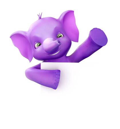 Cute 3d elephant holding a paper and waving Stock Photo