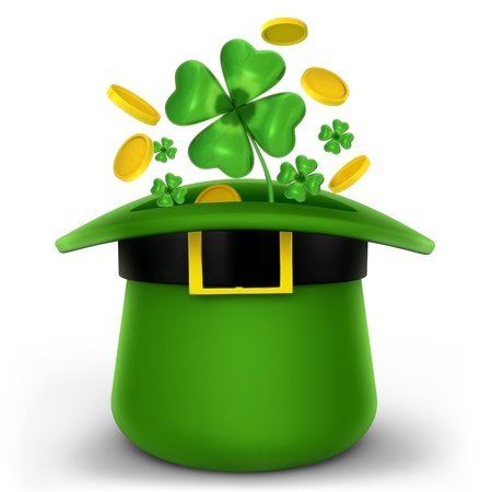 Hat with gold and clovers  isolated on white Stock Photo - 12448598