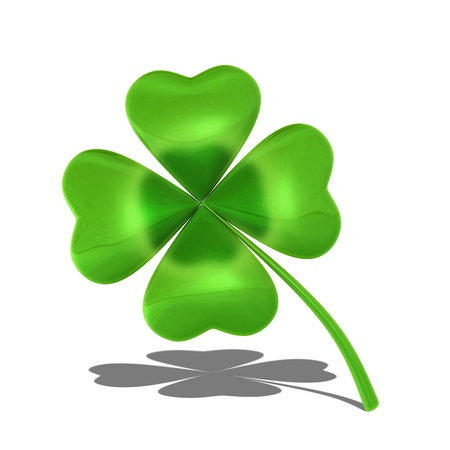 lucky clover: Four-leaf shamrock  isolated on white