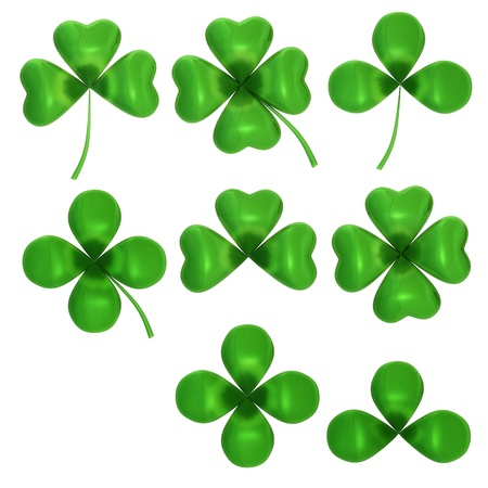 three leaf clover: Set of different clovers  isolated on white