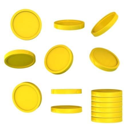 Gold coin: Đồng tiền vàng từ một góc độ khác nhau được phân lập trên nền trắng