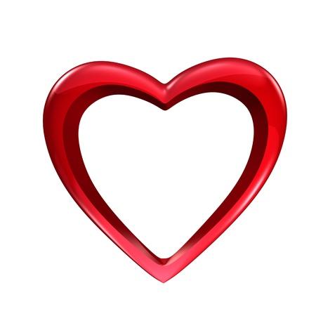 ocas: Forma de corazón hueco aislado en blanco