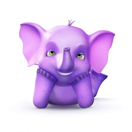 Purple elephant lying on the floor photo