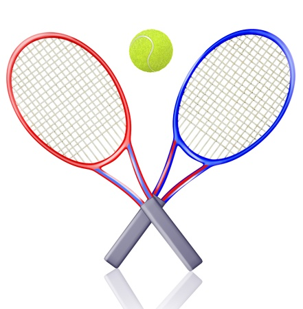 Two rackets and a tennis ball Stock Photo - 13142252