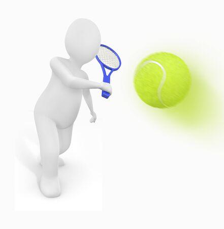 Person prepared to hit a tennis ball photo