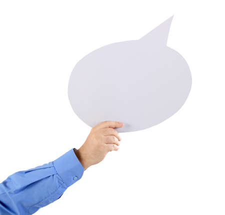 comment: Arm holding a speech bubble Stock Photo