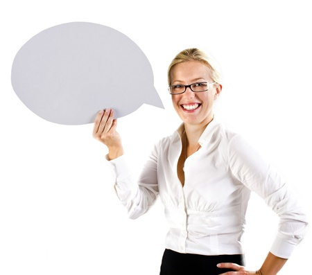 Business woman holding a speech bubble