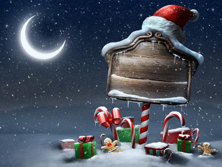 Mooie kerst teken buitenshuis nachtscène