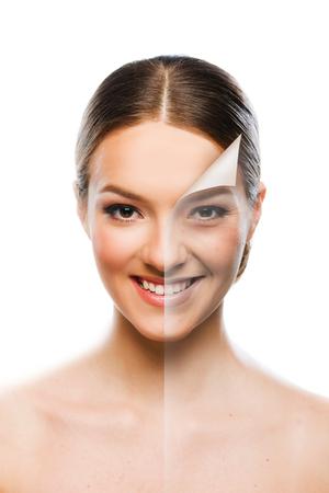 피부 미용 개념을 변경하는 아름다운 여자