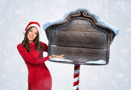icicle: Beautiful woman with a wooden Christmas sign