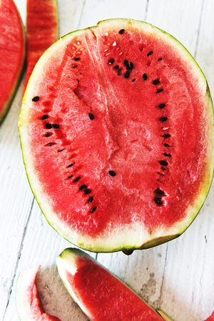 Watermelon slices on a white table