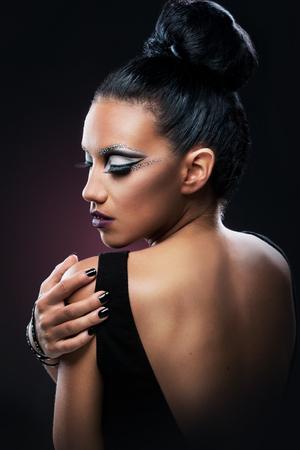 Beautiful woman, make up, back Stock Photo