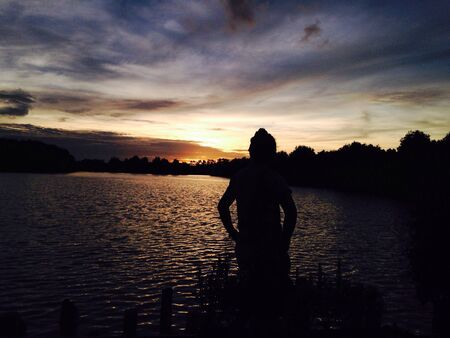 sillhouette: Beautiful sunset with Sillhouette Stock Photo