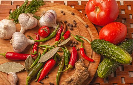 Various ingredients on a wooden board. Stock Photo