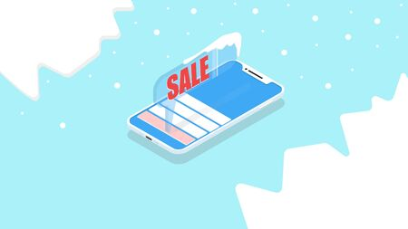 Push notification on the phone in the application, isometric illustration. Vector graphics, smartphone app concepts, for holiday sales and winter discounts Standard-Bild - 134080000