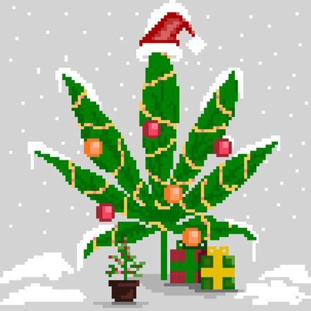 Christmas marijuana, New Year's cannabis leaf with decorations and gifts. Stock vector illustration of cannabis leaf for christmas / new year. Standard-Bild - 134080004