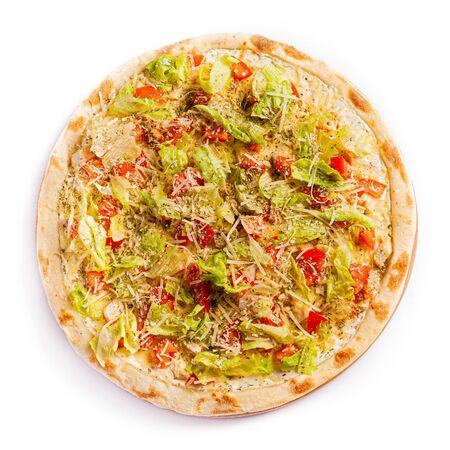 Pizza isolate, medium size, top view. Stock photo of pizza. Zdjęcie Seryjne