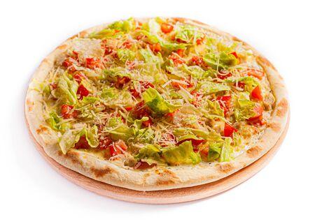 Pizza isolate, medium size, side view. Stock photo of pizza. Zdjęcie Seryjne
