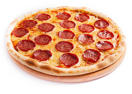 Pizza isolate, medium size, side view. Stock photo of pizza.