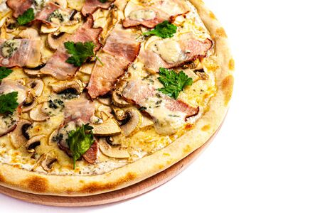 Pizza close up. Photo of pizza isolate on stand with blank space from side. Stock photo.