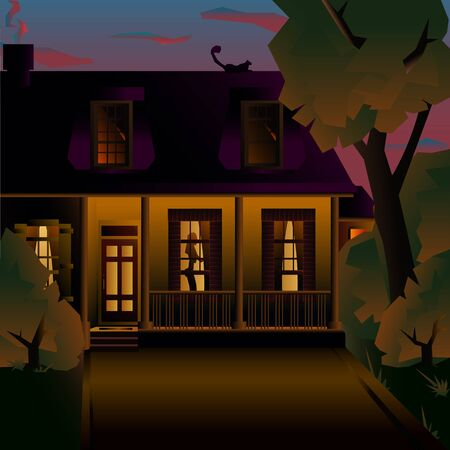 Night cozy two-story house with a porch. Vector art illustration of an american house.