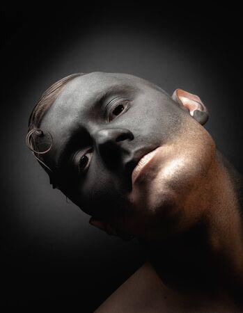 Stock photo male face, makeup art. Handsome caucasian man close up.