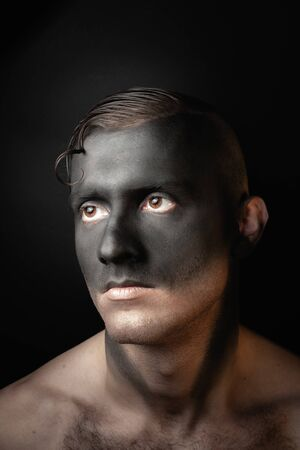 Stock photo male face, makeup art. Handsome caucasian man close up.