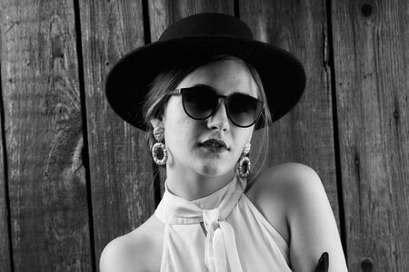 Portrait of a girl in vintage style. Fashion of the past.