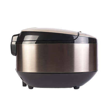 Automatic modern multicooker isolated on white background. Household appliances programmed for the preparation of various dishes. Bronze-colored steel and plastic.
