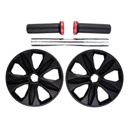 Ab Roller isolated on white background. Dual Ab Roller made of black plastic. Abs Roll Out Exercise Fitness Wheel Core Training Workout Wheels. Collapsible fitness trainer.