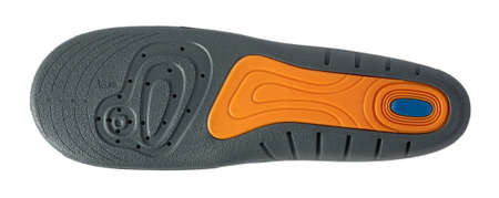 Insole isolated on a white background. Soft foam insoles with silicone inserts bottom view.