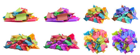 Used colorful stickers notes heap isolated on white. Top and side view. Stationery colored sticky notes. Set different photo for design.