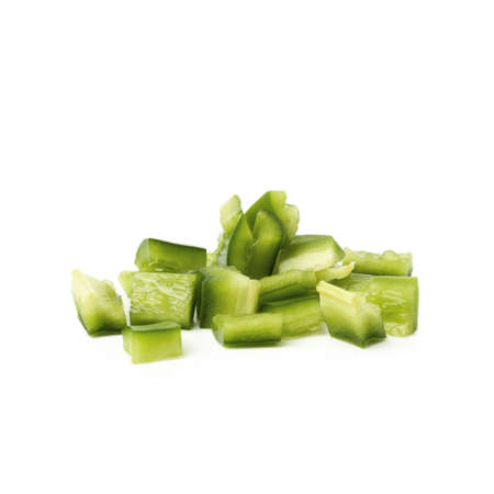 Sliced green bell pepper isolated on a white background.