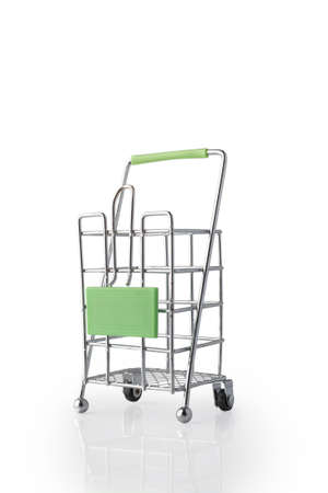 Empty cargo trolley isolated on white background.