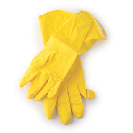 Yellow rubber gloves isolated on white background. 免版税图像