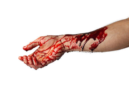 Bloody hand isolated on white background.