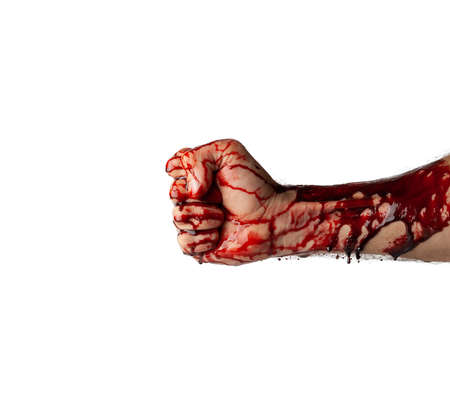 Bloody hand isolated on white background. Stock Photo