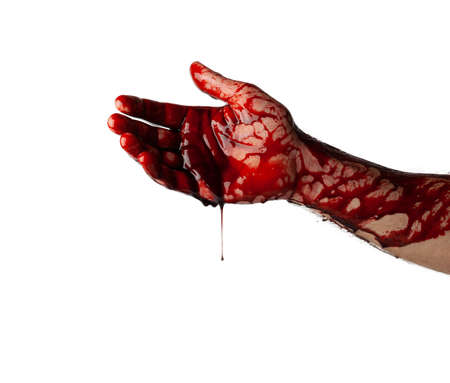 Bloody hand isolated on white background. Banque d'images