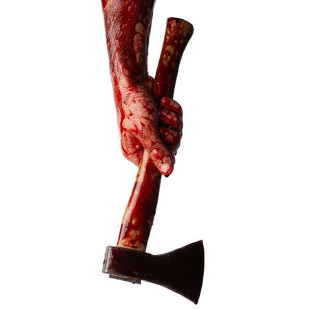 Bloody hand with an ax isolated on a white background.